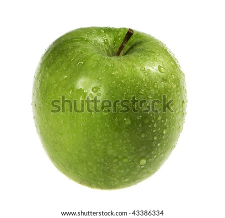 green apple with water drops isolated on white background - stock photo