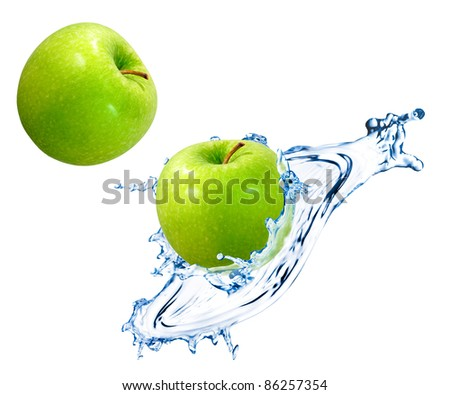 Green apple with water splash