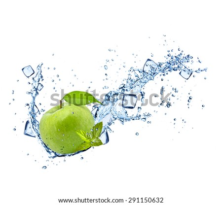 Green apple with water splashes and ice cubes isolated on white background