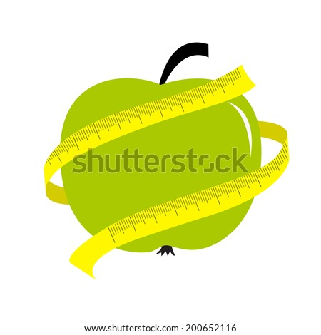 Green apple with yellow measuring tape ruler. Diet concept card. - stock photo