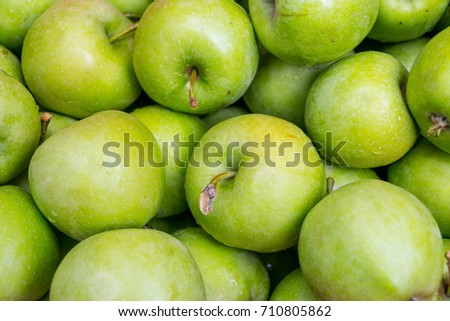 green apples close-up in nature