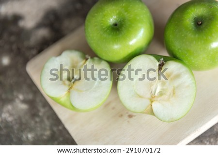 Green apples composition-still life, green apple ripe - stock photo