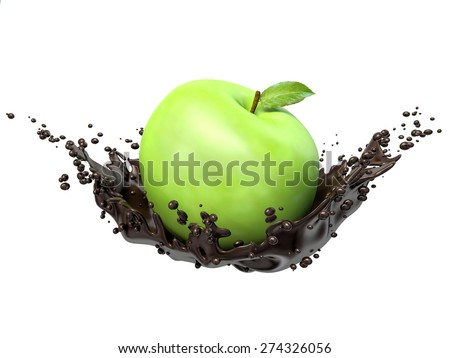 Green apples in chocolate splash, isolated on white background - stock photo
