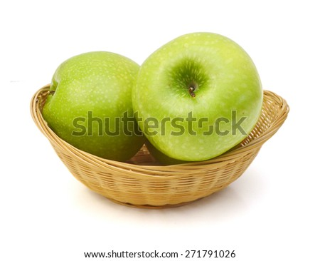 green apples isolated in basket on white  - stock photo