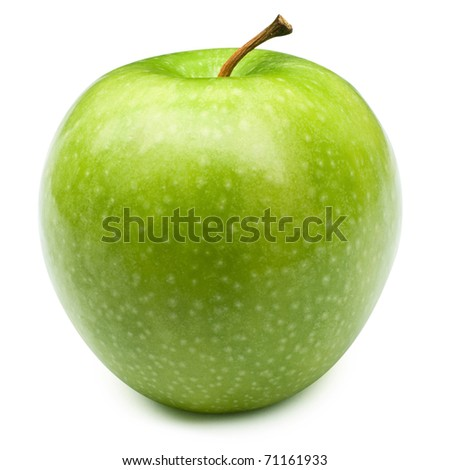 Green apples Isolated on a white background + Clipping Path - stock photo