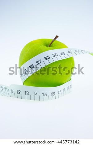 Green apples Measure around the waist - stock photo