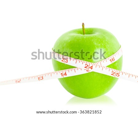 Green apples measured the meter isolated on white background, Save clipping path.