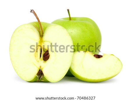 green apples on white background with shadow