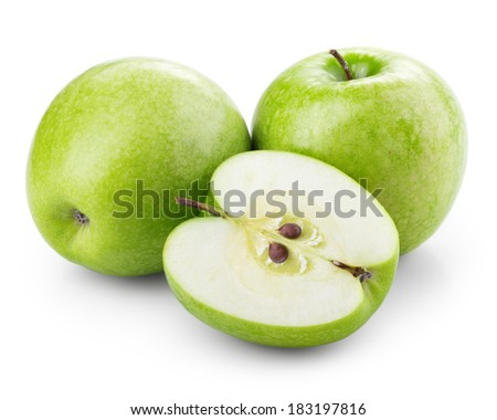 Green apples with half isolated on white - stock photo