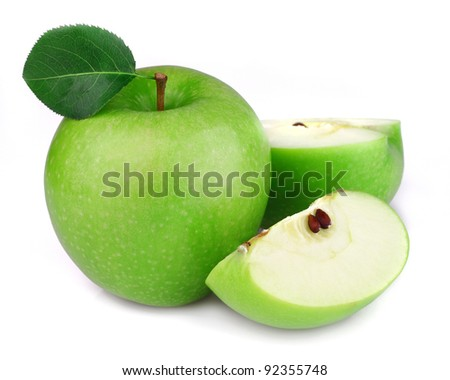 Green apples with leaves - stock photo