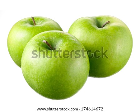 Green apples with leaves and flowers on white background - stock photo
