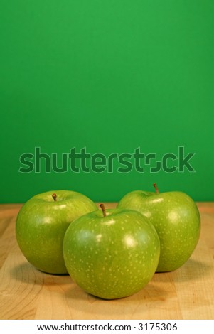 Green Apples with Room for Copy - stock photo
