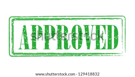 Green approval stamp isolated - stock photo
