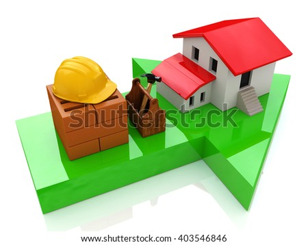 Green arrow and small house - construction concept.3D Illustration - stock photo