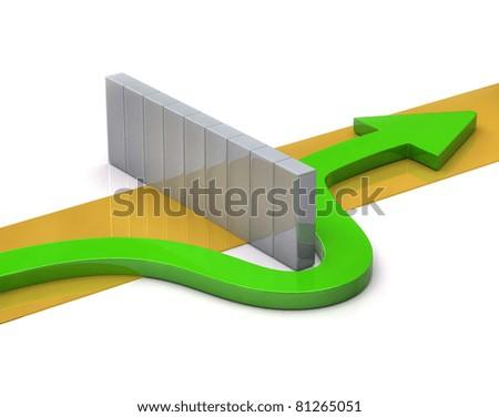 Green arrow go around the barrier - stock photo