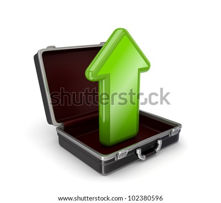 Green arrow in opened suitcase.Isolated on white background.3d rendered. - stock photo