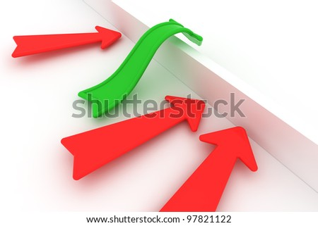 Green arrow is overcoming the barrier while red arrows stop - stock photo