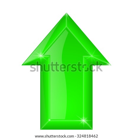 Green arrow. Shiny glass web icon. illustration isolated on white background. Raster version.