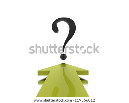 Green arrow with question mark on white background - stock photo