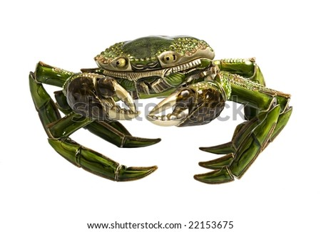 Green artificial crab isolated on white