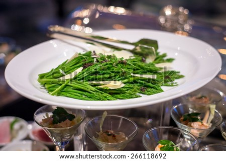 Green asparagus stir fried - stock photo