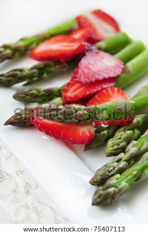 green asparagus with strawberry