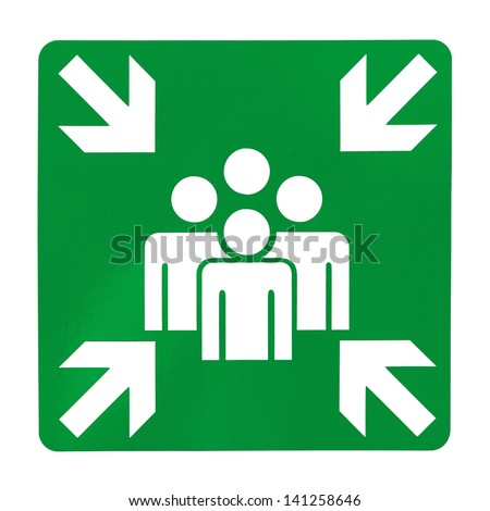 Green assembly point sign on white background - stock photo