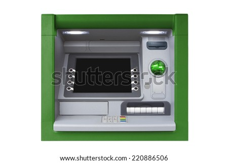 Green ATM with Blank Screen isolated on white background - stock photo