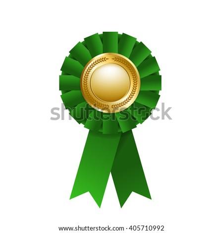 Green award rosette isolated on a white background. Award ribbon - stock photo