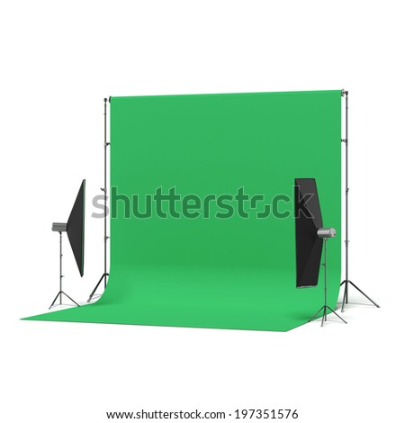 Green Backdrop with lights - stock photo