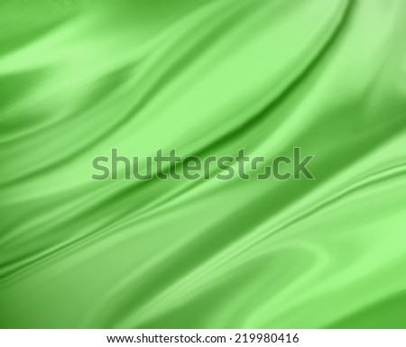 Green background abstract cloth or liquid wave illustration. Wavy folds of silk texture satin or velvet material. Elegant curves of green shiny material.  - stock photo