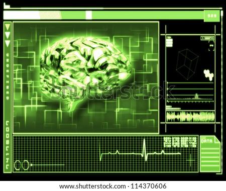 Green background brain interface technology - stock photo
