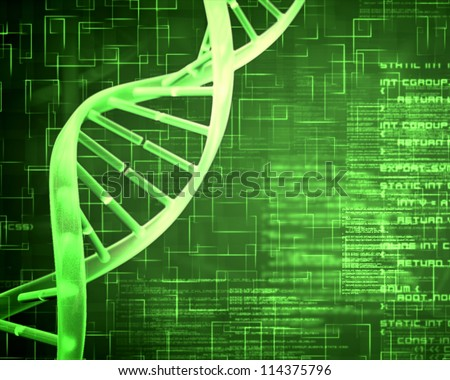 Green background DNA Helix squares and text - stock photo