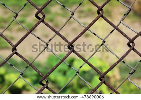 Green background of the metal mesh fence.