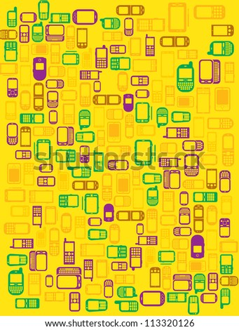 Green Background with a lot of cellphones and smartphones in yellow background - stock photo