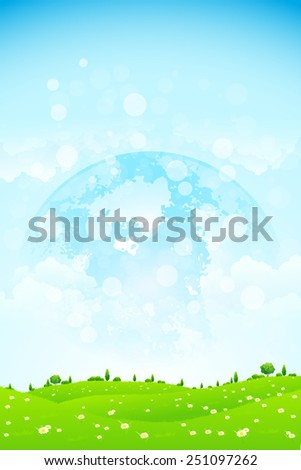 Green Background with Grass Trees Clouds and Planet in the Sky - stock photo
