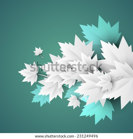 green background with origami leaves - JPG version - stock photo