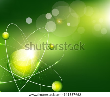 green  background with the atom - stock photo