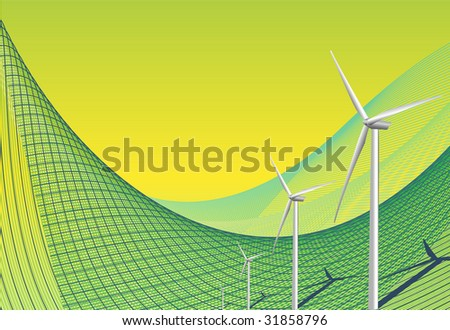 Green background with wind turbines - stock photo