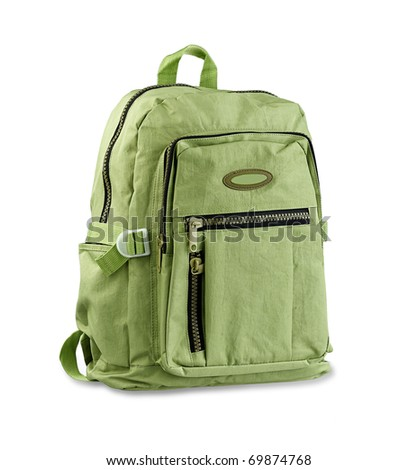 Green backpack for carrying your necessary stuffs isolated on white - stock photo