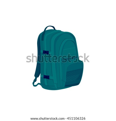 Green Backpack Isolated on White, a Luggage Bag for Traveling, Travel Bag