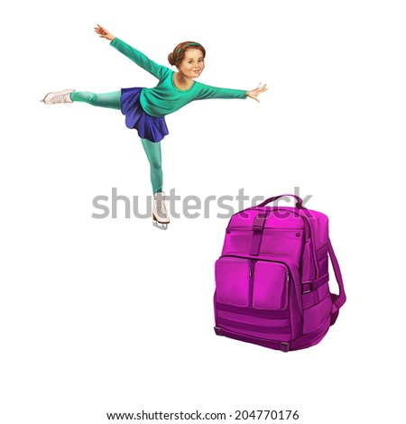 Green Backpack Standing, Beautiful young girl doing figure skating. Isolated on white background - stock photo