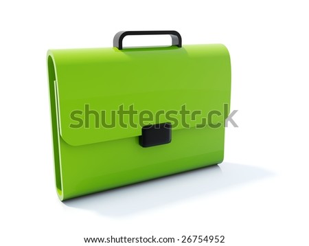 Green bag icon isolated on white - stock photo