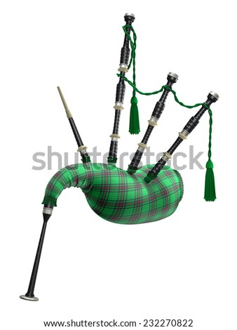 Green bagpipe isolated on white background - stock photo
