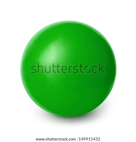 Green Ball isolated on a White background with clipping path - stock photo