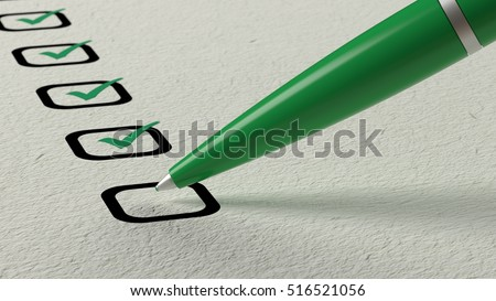 Green ball pen crossing off items from a checklist on white paper 3D illustration