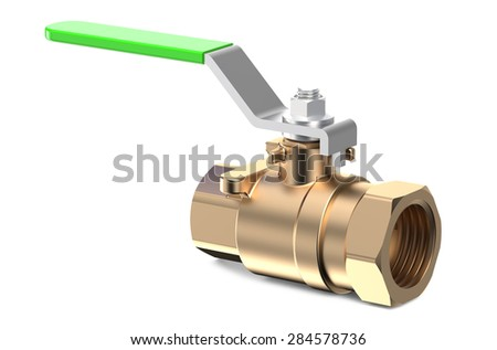 green ball valve isolated on white background - stock photo