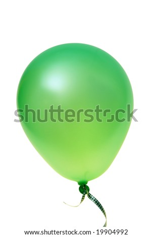Green balloon with ribbon isolated on white background (with clipping path) - stock photo