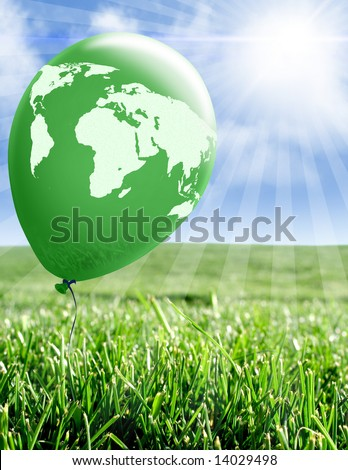 Green balloon with world map - stock photo