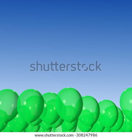 Green balloons on the blue sky background. - stock photo